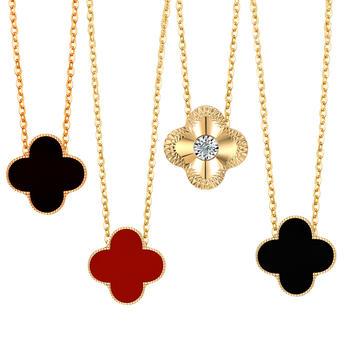 阿梵尼 18K金钻石四叶草玫瑰金色项链玛瑙黄金色吊坠
