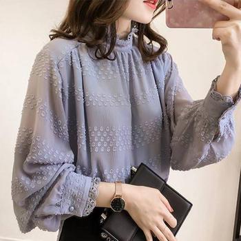 KDN2019新款韓版氣質燈籠袖雪紡衫女寬松顯瘦上衣潮