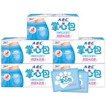 ABC私处卫生湿纸巾5包130片  清爽祛异味护理卫生湿巾掌