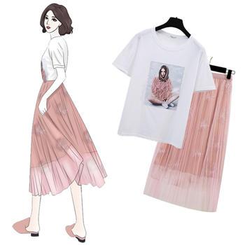 小众网红时尚两件套装简约T恤中长款刺绣网纱半身裙
