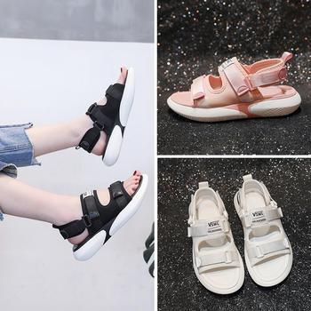 佑黛夏季新款凉鞋韩版学生运动休闲鞋露趾厚底罗马鞋