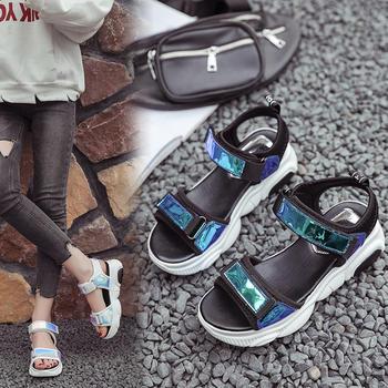 女鞋夏季新款露趾凉鞋学生运动厚?#23039;?#31957;鞋休闲女鞋