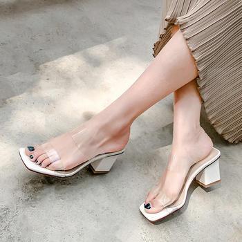 慕沫夏季新款拖鞋女真皮?#25351;?#38706;趾高跟鞋懒?#36865;?#31359;半拖