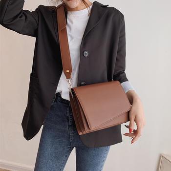 雅涵欧美时尚简约女包单肩百搭宽肩带休闲包包