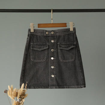 兰菲韩版气质百搭 单排扣包臀半身裙显瘦A字裙