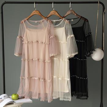 兰菲超仙甜美网纱刺绣花边钉珠喇叭袖连衣裙吊带两件