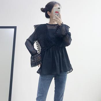 兰菲韩版淑女一粒扣刺绣拼接喇叭袖雪纺衫吊带两件套