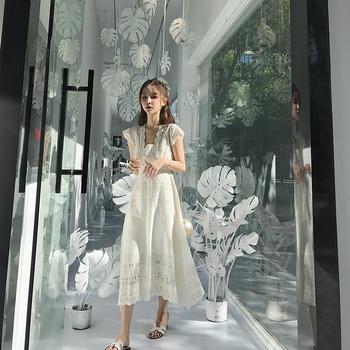 CHINSTUDIO雪梨钱夫人 花边无袖连衣裙/裤 自然大气