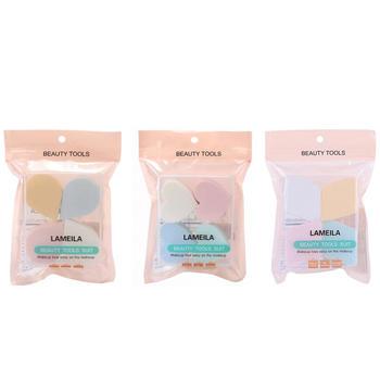 拉美拉 4片盒装亲肤粉扑泡水大干湿两用化妆海绵粉扑