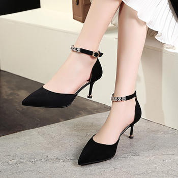 慕沫新款凉鞋女一字扣带细跟高跟鞋包头罗马鞋尖头鞋