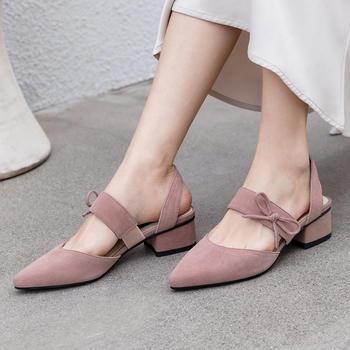慕沫女鞋夏季新款包头凉鞋小清新学院尖头罗马鞋单鞋
