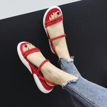 安欣娅韩版新款一字式扣带平底休闲百搭凉鞋