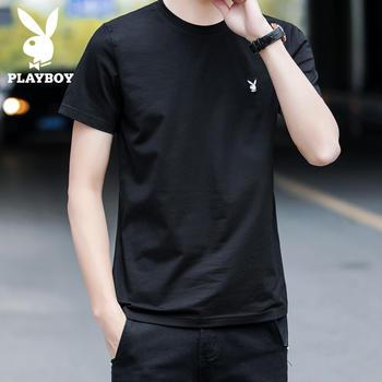 花花公子时尚潮流短袖T恤男夏季圆领纯色上衣修身