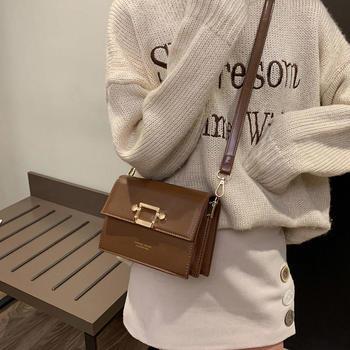 雅诗罗2019新款时尚简约女包单肩锁扣包包小方包