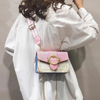 雅诗罗韩版新款撞色时尚单肩女包百搭钳口斜挎包包