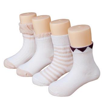 谷斐尔4双装春秋宝宝新生儿婴幼儿宽松口袜子