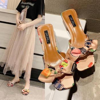 佑黛夏季新款拖鞋小清新蝴蝶节外穿半?#27927;指?#20013;低跟鞋