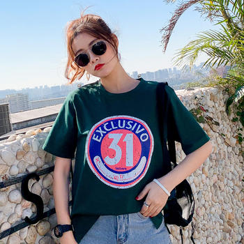 新款韩版女装JQ1923休闲套头短袖t简约上衣圆领T恤