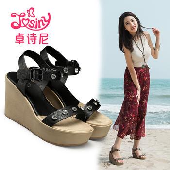 卓诗尼休闲超高跟坡跟凉鞋厚底松糕露趾女鞋194720782
