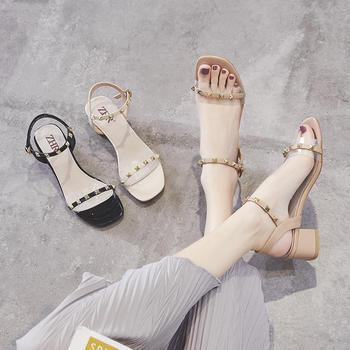 ZHR新款网红仙女风一字带?#25351;?#20937;鞋铆钉高跟鞋ins透明鞋