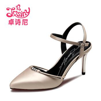 卓诗尼新款女凉鞋超高跟细跟优雅尖头水钻凉鞋123751302