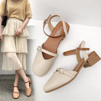 佑黛女鞋夏季新款学生低跟包头鞋一字扣带罗马鞋女鞋