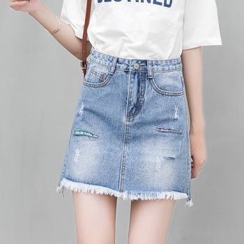 韩版款牛仔短裤子W101A女显瘦百搭潮高腰阔腿宽
