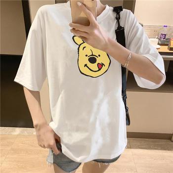 美丽后纯棉小熊卡通印花圆领短袖T恤女