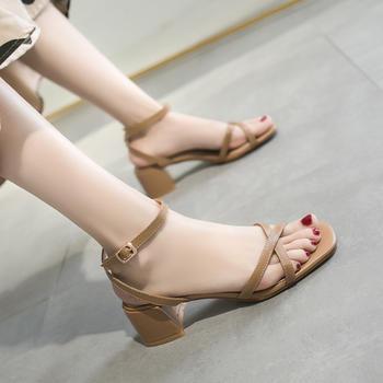 慕沫女鞋夏季新款露趾高跟鞋脚环扣带?#25351;?#20937;鞋罗马鞋