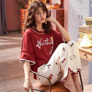凯丝柔舒适棉质薄款家居服短袖长裤睡衣套装