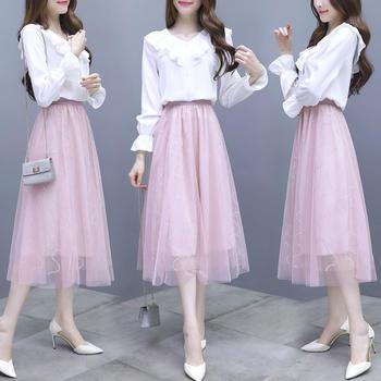 S SKY2019新款女超仙甜美法国小众连衣裙仙女两件套