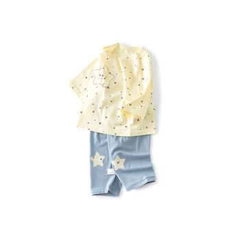 Cipango 夏季新款可爱宝宝七分袖小星星套装 衣服