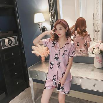 酷诺围巾兔粉色冰丝睡衣女夏季短袖两件套装