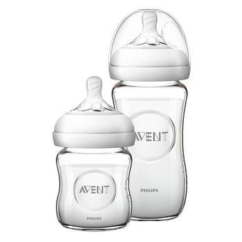 新安怡宽口径自然系列玻璃奶瓶新生儿套装(4oz和8oz)