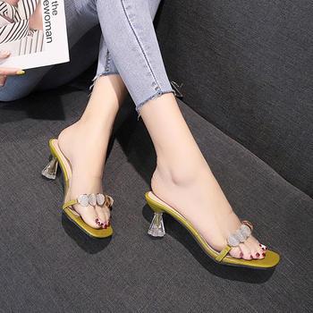 佑黛女鞋夏季小清新透明果冻高跟鞋懒?#36865;?#31359;半拖凉鞋