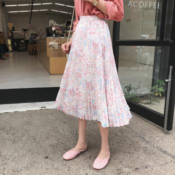 金蘑菇菇 原创莫兰迪色系油画裙网红抽褶仙仙半裙