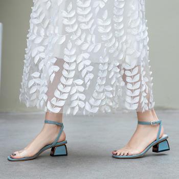 慕沫韩系小清新夏季凉鞋透明果冻鞋一字扣带?#25351;?#22899;鞋