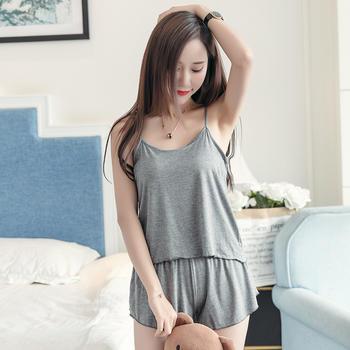 纪妍薇 薄款棉质女睡衣套装吊带家居服舒适背心夏季