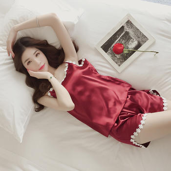纪妍薇 冰丝女睡衣套装家居服吊带睡裙薄款性感舒适