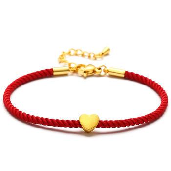 阿梵尼 黄金心形手链红绳手串可调节时尚链子男女款