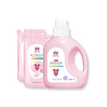 中国•红色小象婴儿多效洗衣液三件套(清新果香型)(1.2L*1桶+500ml*2袋)