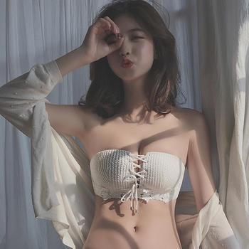 维妮芳 无肩带半杯小胸聚拢文胸罩女 性感露肩 无钢圈