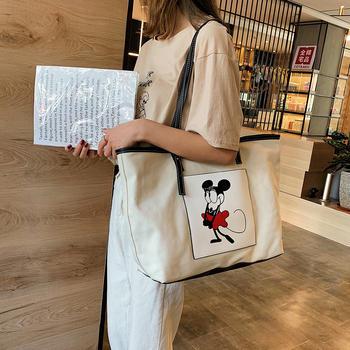 雅涵韩版帆布包时尚卡通老鼠女包单肩百搭大包包