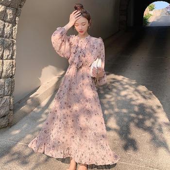CHINSTUDIO雪梨钱夫人 印花法式中长款甜美过膝连衣裙