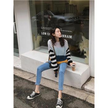 张大奕高腰牛仔裤女紧身显瘦浅色网红韩版弹力小脚裤
