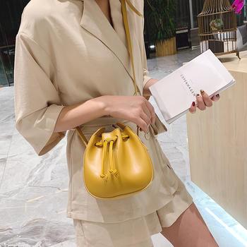 天彩翼飞韩版新款简约女包斜挎包包水桶包