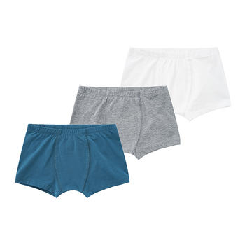 minizone三条装|儿童内裤平角纯棉纯色柔软内裤短裤