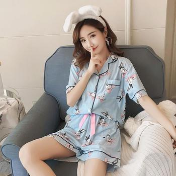 纪妍薇 舒适棉薄款女睡衣套装开衫家居服两件套多色