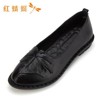 红蜻蜓女鞋头层牛皮春款简约平底休闲单鞋B80725