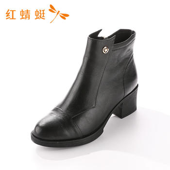 红蜻蜓女鞋头层牛皮单鞋皮鞋靴粗跟女短靴B75705